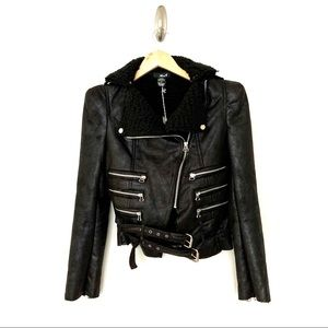 Tea/f  Black Faux Leather Moto Jacket